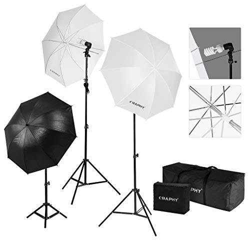 CRAPHY Fotoschirm Set, Studioschirm Set mit Reflexschirm, 2x Durchlichtschirm, 3x Fotolampe(45W) und 2x Tragetasche, Fotostudio Set für Fotostudio Beleuchtung, Green Screen, Porträt und Modefotografie