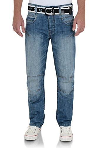 Crosshatch - Jeans - Droit - Homme Bleu - Délavé clair