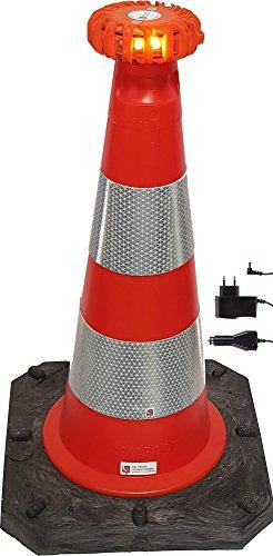 UvV® Leitkegel reflektierend 50 cm Pylone rot-orange 2,5 kg + Hochreflex RA2/C Folienringe Verkehrskegel (mit LED orange)