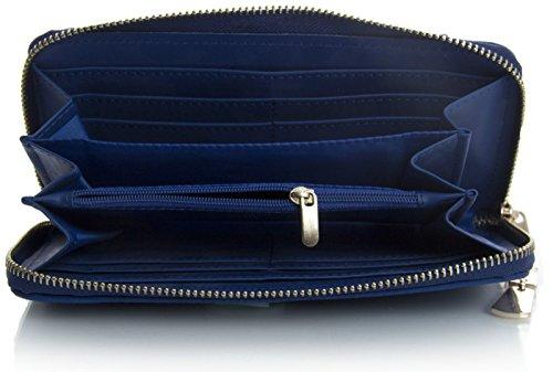 Big Handbag Shop Portefeuille avec fermeture éclair et nœud Uni Marine