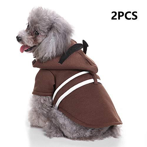 Da Samurai Kostüm - FZXPET Haustier Hund Kleidung Für Kleine Hunde, Winter Weihnachten Halloween Kleider, Warme Katze Mantel, Lustige Kostüm, Samurai Roben,B,M