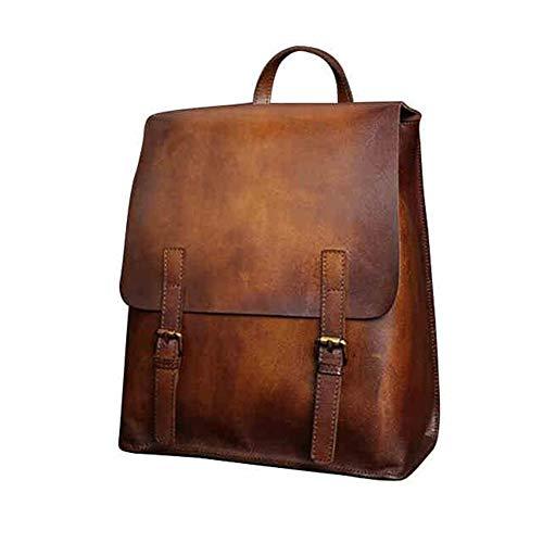 Yoome Vintage Echtes Leder Rucksack Handmade Brush-Off Laptop Rucksack Große Reisetasche Casual Daypack British Wind College Bookbag Umhängetasche für Männer & Frauen, Braun
