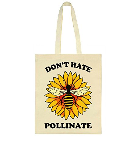 Don't Hate Pollinate Bee On A Flower Tote Bag