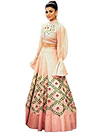 Swara Fashion Women's Silk With Blouse Piece Lehenga Choli(SFA-2092_Peach_Multi Work)