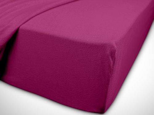 npluseins klassisches Jersey Spannbetttuch - erhältlich in 34 modernen Farben und 6 verschiedenen Größen - 100% Baumwolle, 90-100 x 200 cm, pink - 7