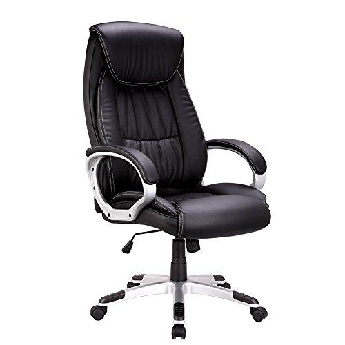 Chefsessel Bürostuhl ,IWMH Hoch Rücken Schreibtischstuhl PU Kunstleder high back Bürostuhl mit armlehne,360°verstellbare Drehstuhl Racing Hohe Rückenlehne Ergonomische Stuhl ,schwarz (Size 2)