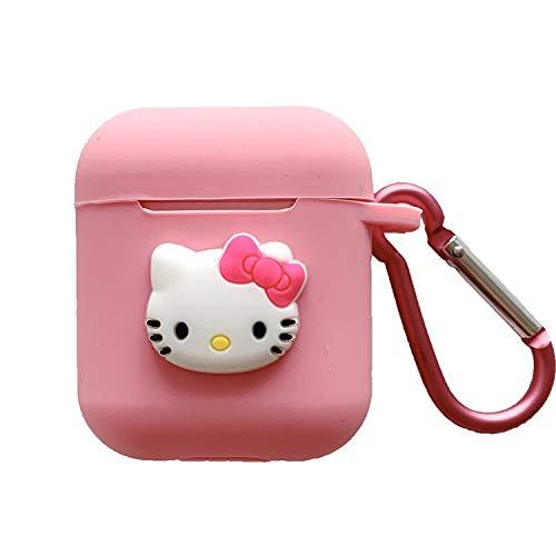 Airpods Schutzhülle, süße Cartoon-Katze, weiches Silikon, stoßfest, mit Anti-Verlust-Schnalle, Schutzhülle für Apple Airpods 1 und 2 Ladehülle