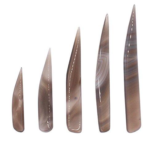 Niupika - set di 5 brunitoi a coltello in pietra d'agata, strumenti per la lucidatura di oggetti in oro e argento