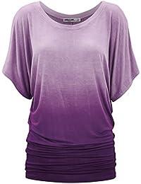Vertvie Femme Été T-shirt Manches Courtes Chauve-souris Épaule Nue Top Blouse Lâche Casual Extensible