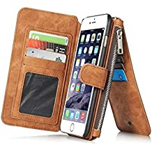 "Marrón Multi-function Wallet Funda de Cuero para Apple iPhone 6 Plus / 6S Plus 5.5"",Yihya 2 in 1 Detachable Leather Folio Flip Wallet Stand Cover Carcasa con Card Slots + Stylus Pen--Brown"