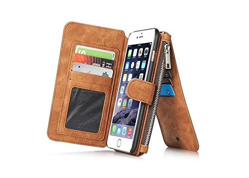 iPhone 5 5S SE Multi-function Geldbörse Ledertasche Hülle, Yihya 2 in 1 Detachable Premium Leder Handyhülle Etui Schutzhülle Flip Wallet Case Cover mit Kartenfach--Braun (5 Geldbörse)
