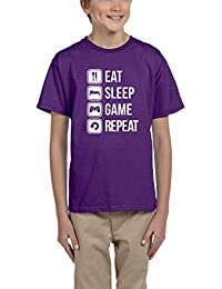 Daatadirect Eat Sleep Game repeat White Kids T Shirt All Sizes Colours Black