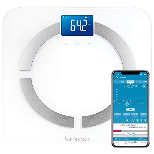Medisana BS 430 Connect digitale Körperanalysewaage bis 180 kg -  Personenwaage zur Messung von Körperfett, Körperwasser, Muskelmasse und Knochengewicht - Körperfettwaage mit Bluetooth App - 40422