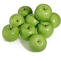 sungpunet 12pcs decorativos grandes artificiales falsos Frutas Manzana Verde Plástico Hogar Fiesta Decoración
