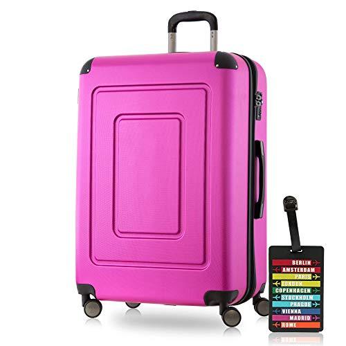 Happy Trolley - Lugano Hartschalen-Koffer Koffer Trolley Rollkoffer Reisekoffer Lugano, sehr leicht + stabil, TSA, 76 cm, 113 Liter, Pink + Design Kofferanhänger -