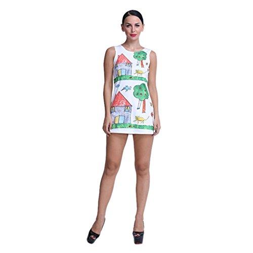 Kleid Transer® Damen Täglich Kleider Drucken Baum Schön Sleeveless Rundhalsausschnitt Geschäft Minikleid Grün