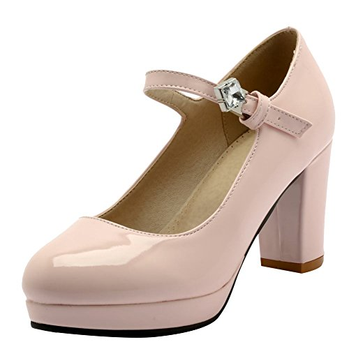 Mee Shoes Damen chunky heels ankle strap Plateau Pumps Pink