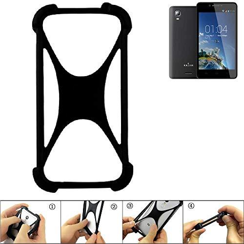 K-S-Trade Handyhülle für Kazam Trooper 2 6.0 Schutz Hülle Silikon Bumper Cover Case Silikoncase TPU Softcase Schutzhülle Smartphone Stoßschutz, schwarz (1x)