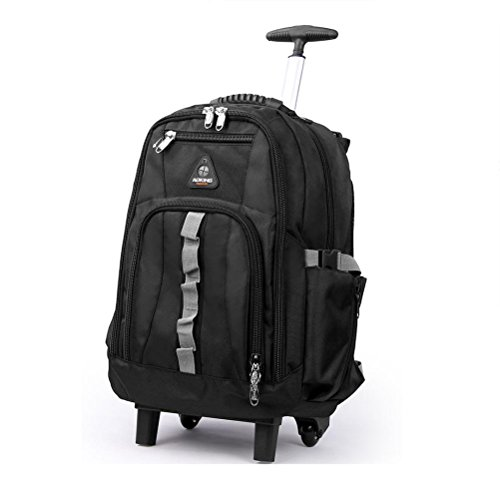 Schultern Ruten Tasche Ultraleicht Vielseitig Koffer Laptop Rucksack Genehmigt für Ryanair, Easyjet, British Airways, Virgin Atlantic mit 2 Leises Rad , b black , 20 inches (20 Zoll Black Räder)