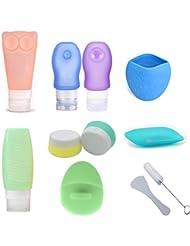 Flacon Silicone avec Ventouse Trousse de Toilette Approuvé par la TSA, Kit de Voyage Complet pour Shampoing, Crème, Lotion, Idéal pour le Voyage, Vacances