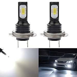 KaTur H7-Nebelscheinwerferlampen extrem hell 2400 Lumen, max. 75 W, hohe Leistung für Tagfahrlicht, Tagfahrlicht oder Nebelscheinwerfer, Xenonweiß (H7-Weiß)