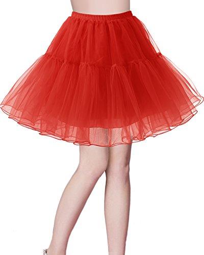 bridesmay Kurz Retro Petticoat Rock 1950er Vintage Tutu Ballett Unterkleid Rot XL - Ballkleid Light