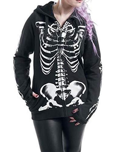 on Skelett Drucken Kapuzenpullover Langarm Hoodie mit Reißverschluss Alltagsleben Halloween S-5XL(BL,4XL) ()