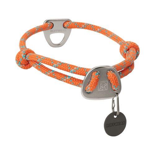 Collar de cuerda para perros, grande, naranja calabaza, nudo-a-collar