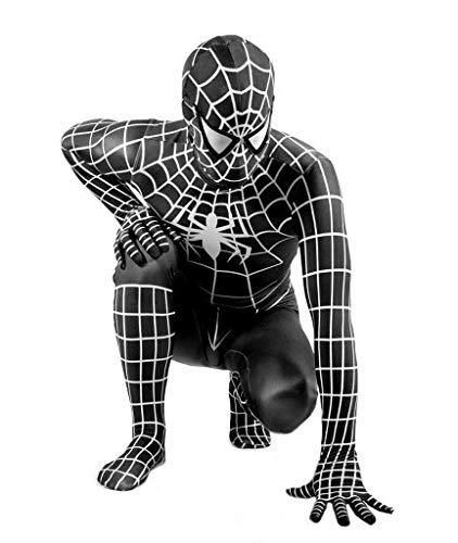 TOYSGAMES Cosplay Kostüm Erstaunlich Spiderman Erwachsene Kinder Schwarz Vielseitig Engen Bodysuit Film Party Requisiten (Farbe : SCHWARZ, größe : L)