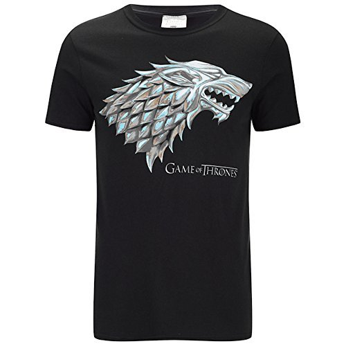 Game of thrones - stark sigil - ufficiale t-shirt da uomo - nero, xx-large
