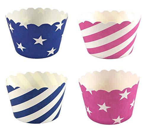 100 Pappförmchen für Muffin, Cupcake, EIS, Dessert - 4 Designs a 25 Stück mit Sternen und Streifen