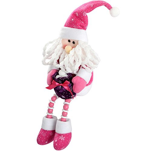 Werchristmas - decorazione natalizia a forma di babbo natale seduto, 30 cm, colore: rosa/viola