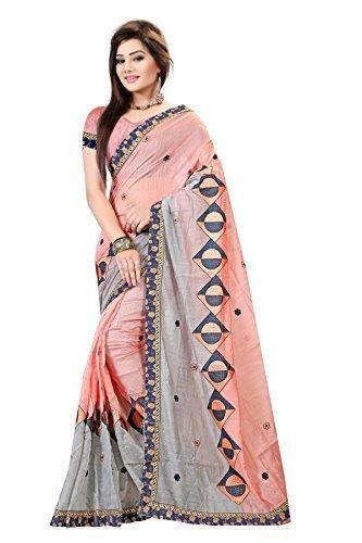 Pari Designer Women\'s Cotton Saree with Blouse Piece, Free Size (Pink, Mpn_Cotton1030-360)