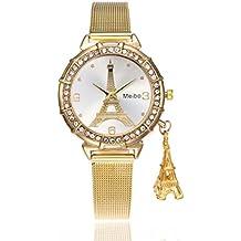 Reloj mujer barato de moda ❤️ Amlaiworld Moda Relojes niña Reloj de pulsera de cuarzo de acero inoxidable de torre Eiffel para mujer reloj mujer deportivo reloj mujer acero inoxidable Pulseras Joyería Señora (Dorado)