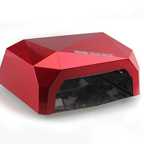 Gellen 36W professionelles UV CCFL LED Lichthärtungsgerät Diamantform mit Timer (10sek, 30sek, 60sek) und Eischaltautomatik Lichtschranke UV-Lampe LED-Lampe Nageltrockner Nagellampe,rot - 2