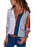 Dokotoo Chemise Femmes Manches Longues Chemisier à Carreaux Irrégulière Tops Slim Elégante Blouse T Shirts, Blanc 2, XL(EU48-50)