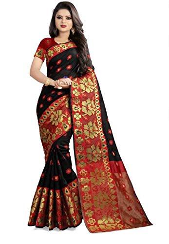 Globalia Creation Self Design Banarasi Cotton Sare...