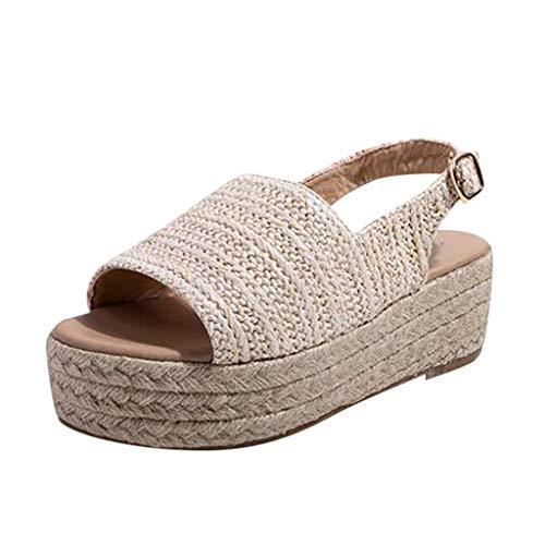 Wawer Damen Sandalen Keilabsatz Plateau Peep Toe Wedge Blockabsatz Offen Comfort Schuhe Für Strand Outdoor -