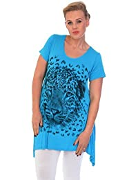 4b9f2de76f Nouvelle Collection New Womens Plus Size Top Ladies Tiger Print Asymmetric  Tunic Short Sleeves Tunic A