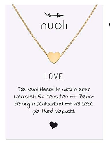 Nuoli® Kette Herz Gold Damen (45 cm) Halsketten für Frauen, Filigrane Kette, Freundschaftskette, Glücksbringer als Geschenk