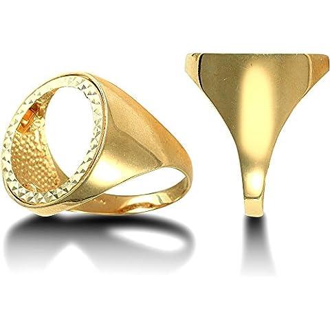 Jewelco Londra 9K oro a cupola sovrano mezzo lucido anello di montaggio