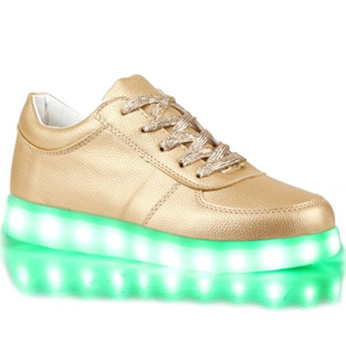 (Present:kleines Handtuch)JUNGLEST® Blinkende Damen Sneakers Led Light Fa Gold