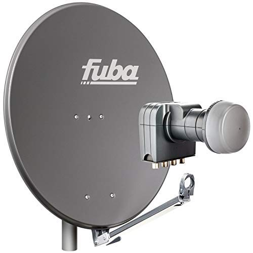 Fuba 4 Teilnehmer Sat Anlage DAL 804 A | Sat Komplettanlage mit Fuba DAL 800 A Alu Sat-Schüssel/Sat-Spiegel anthrazit + Fuba DEK 417 Quad LNB für 4 Receiver/Teilnehmer (HDTV-, 4K- und 3D-kompatibel)