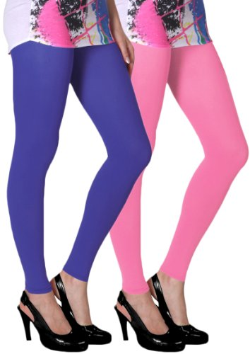 Slassy Women's Ankle Length Leggings Pack Of 2 (Royal Blue, Pink_Small)  available at amazon for Rs.469