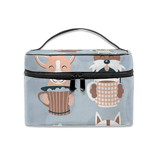Portable Travel Toiletry Bag Organizer,Doggie Coffee and Tea Time Cosmetic Bags for Women Girl,Makeup Bag, Storage Bag -