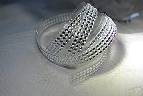 RIBBON QUEEN 1m roll of 3 Row Adhesive Diamante Rhinestone Crystal tape - Fabulous quality