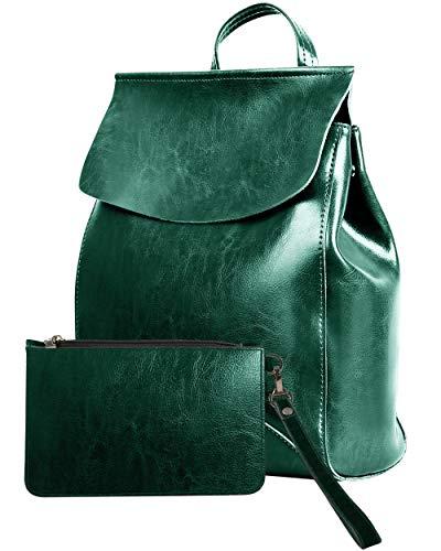 EFANED Borsa Zaino Donna in Pelle Vegan Elegante Zainetto a Tracolla con Pochette Outlet Borse Casual Zaini da Viaggio e Lavoro (Verde)