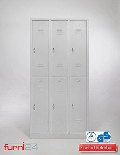 Garderobenschrank, Schließfach, Spind, Umkleideschrank, Kleiderschrank Abteilbreite 30 cm 6-türig