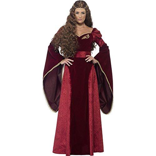 Smiffys, Damen Mittelalterliche Königin Deluxe Kostüm, Kleid, Gürtel und Kopfschmuck, Größe: S, (Erwachsene Deluxe Rote Kostüme Königin)