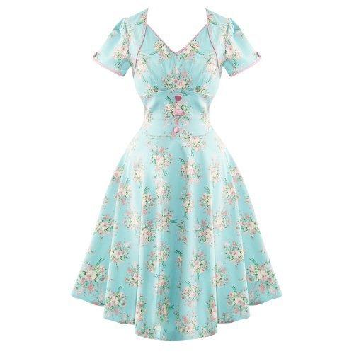 Voodoo Vixen Vintage 50s azzurro motivo floreale estate borchiati sole vestito